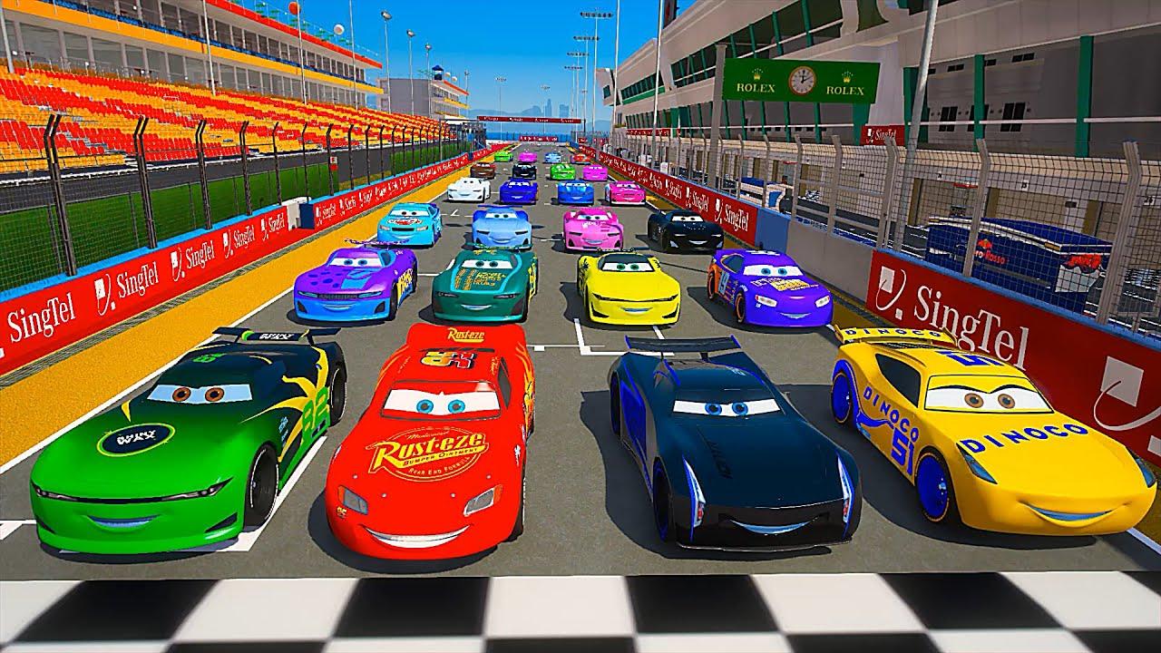 All Cars 3 - Race Marina Bay Circuit - McQueen and Friends Jackson Storm Cruz Ramirez Flip Dover