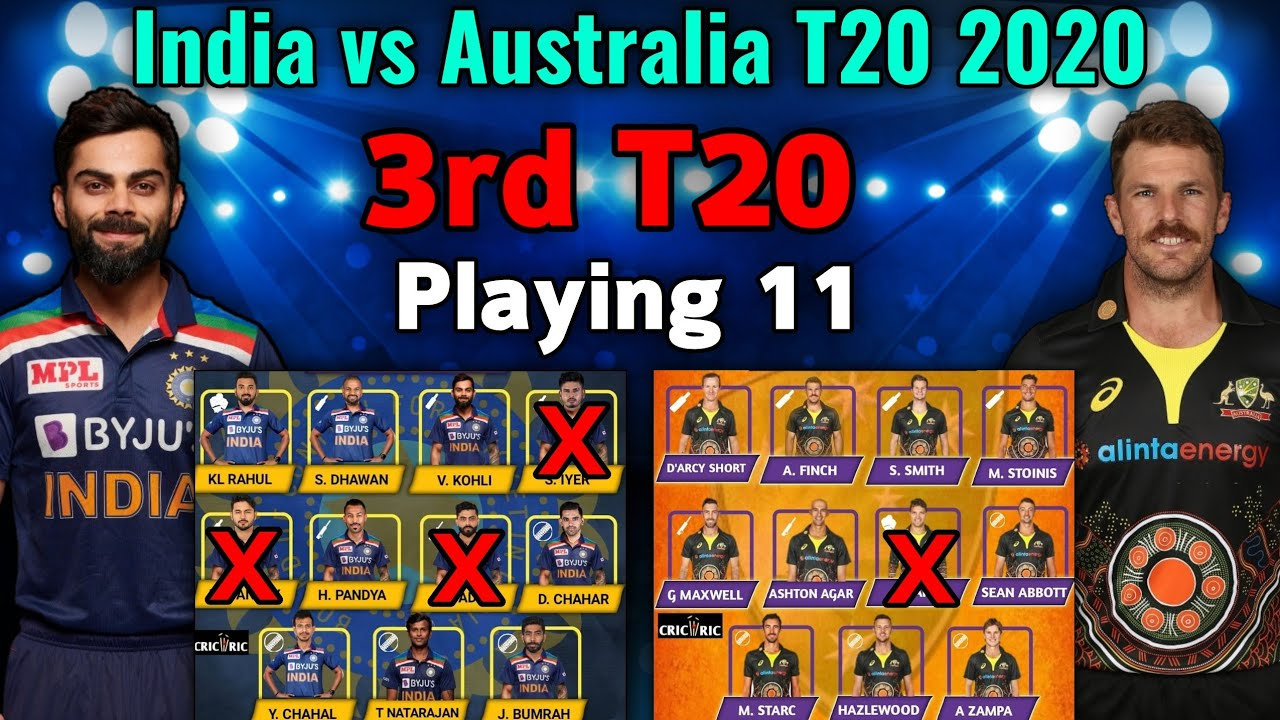 India Vs Australia 3rd T20 Match 2020 Playing Xi Aus Vs Ind 3rd T20 Playing 11 Indvsaus Youtube