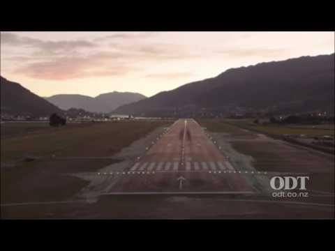 Night landing at Queenstown Airport