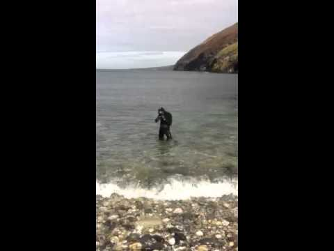 diveing isle of man Getting in the water