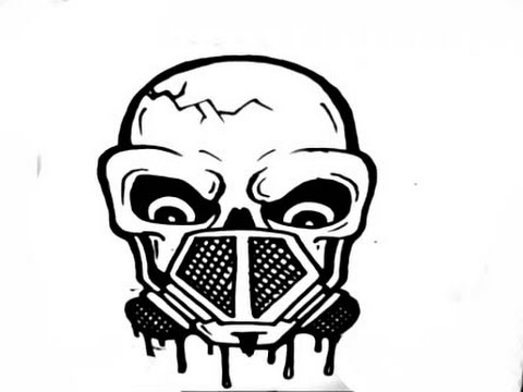How To Draw A Skull With Gas Mask