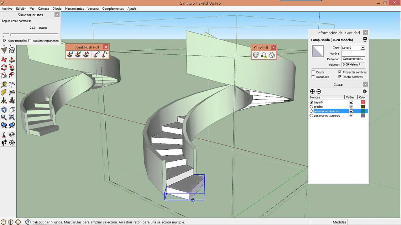 Escalera de caracol helicoidal en sketchup youtube for Escaleras 3d max