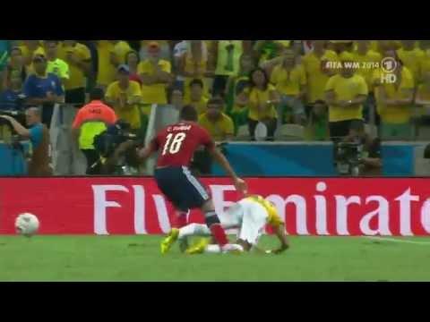WM 2014 Quarter final NEYMAR brutally FOUL from a Columbian Player.