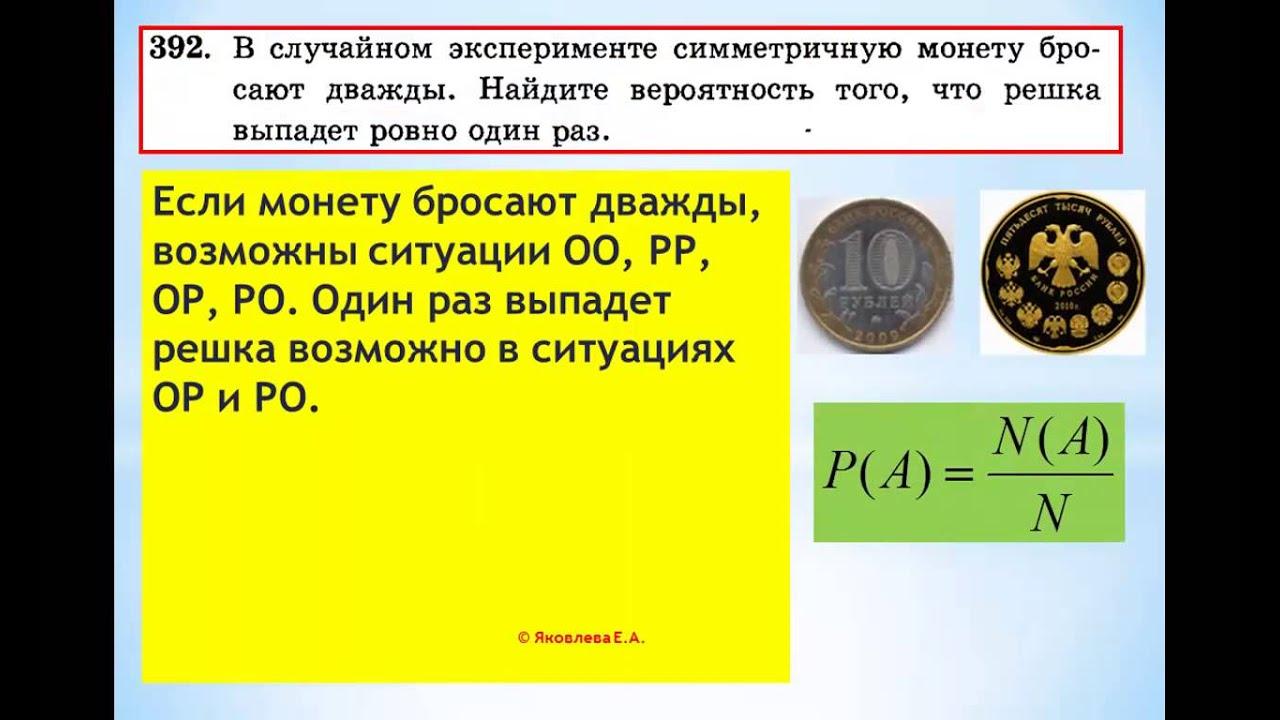 ЕГЭ-2014 Задание В-6 Урок №299 В случайном эксперименте монету бросают дважды...