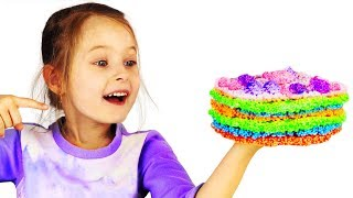 Children Learn Colours With Toy Surprise Fruits Cake Princess Dresses Foam Clay Rhinestones Cat