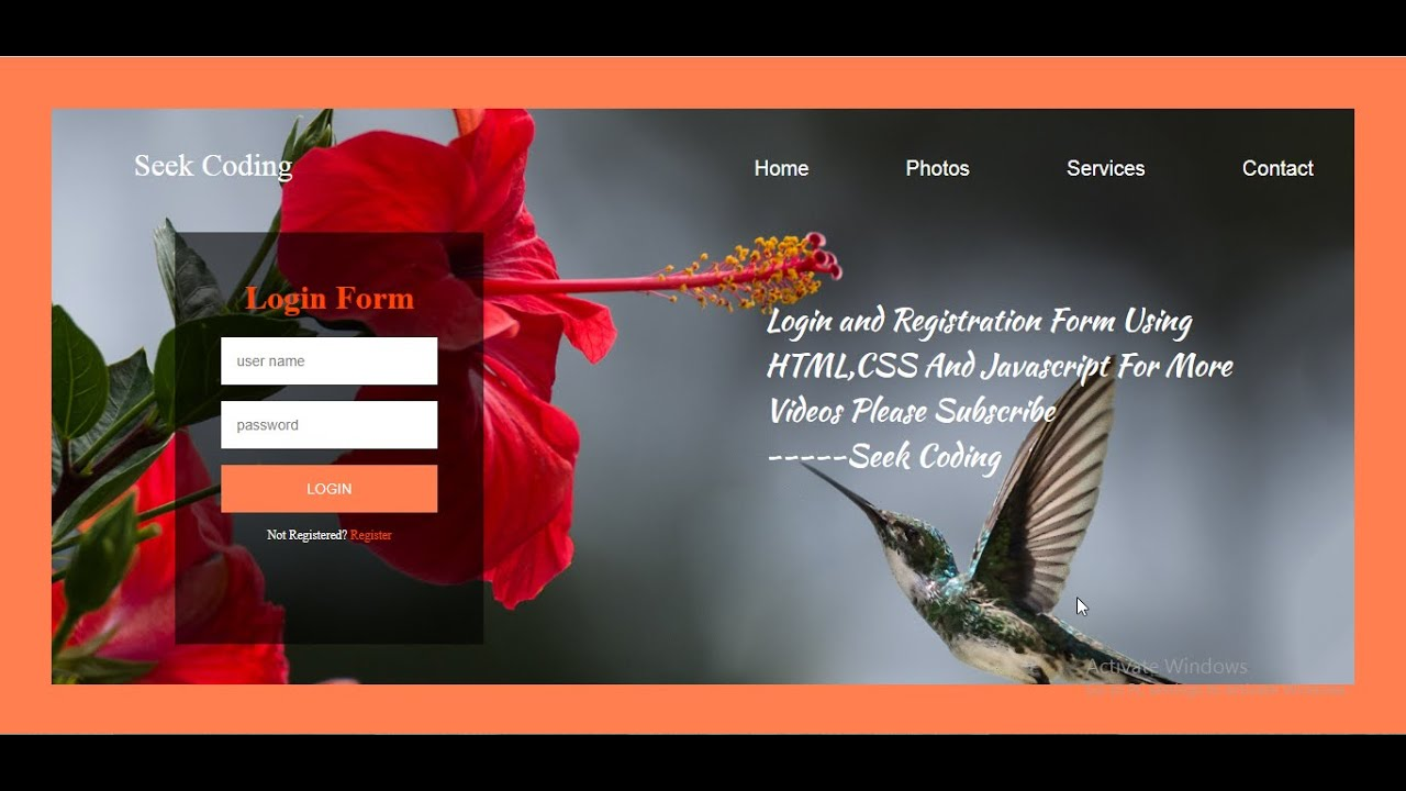 How To Create A Website Using HTML And CSS With Login & Registration Form