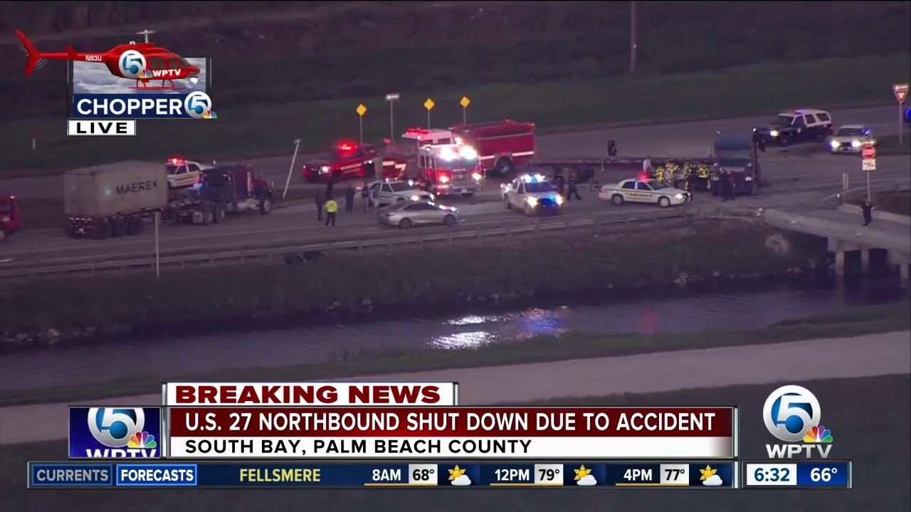 U S  27 northbound closed for semi, car crash