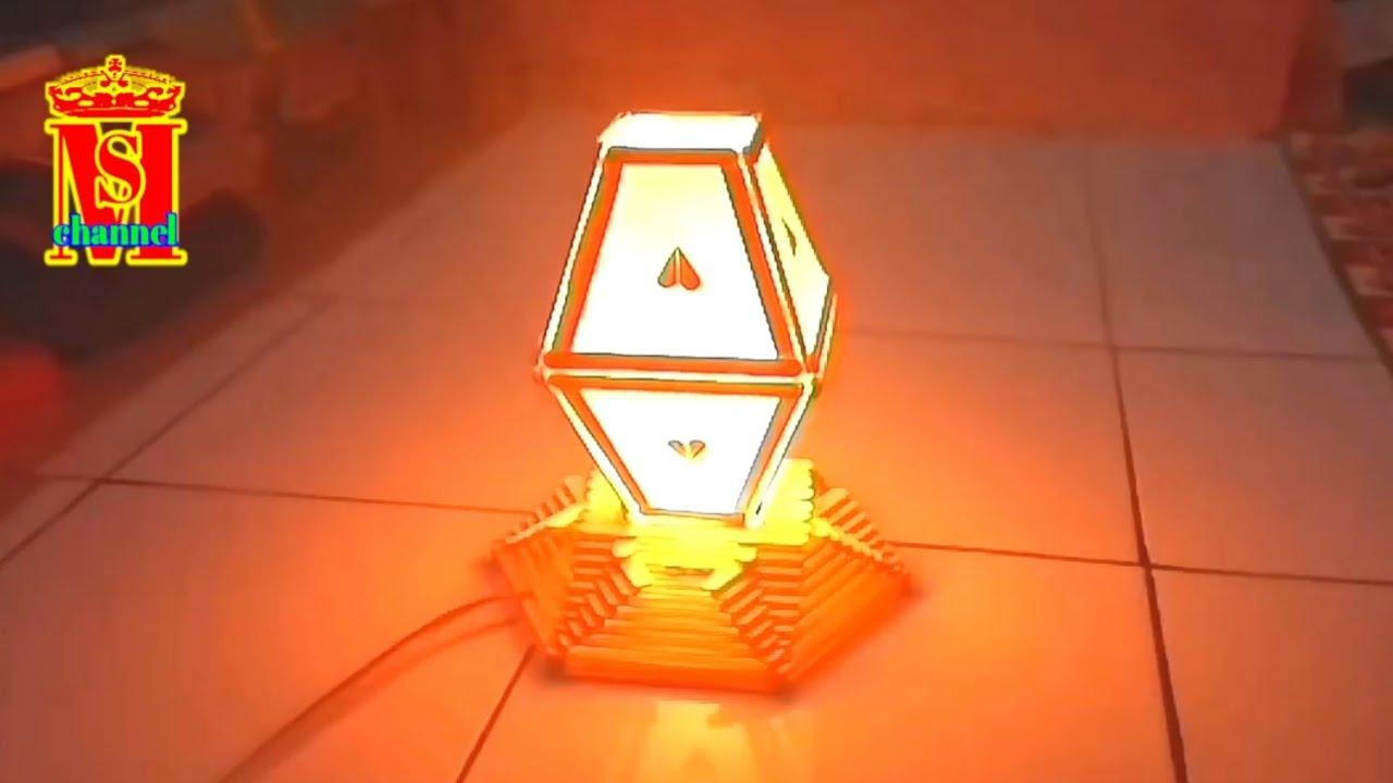 Diy Cara Membuat Lampu Tidur Dari Stik Eskrim Youtube Kerajinan stik es krim lampu