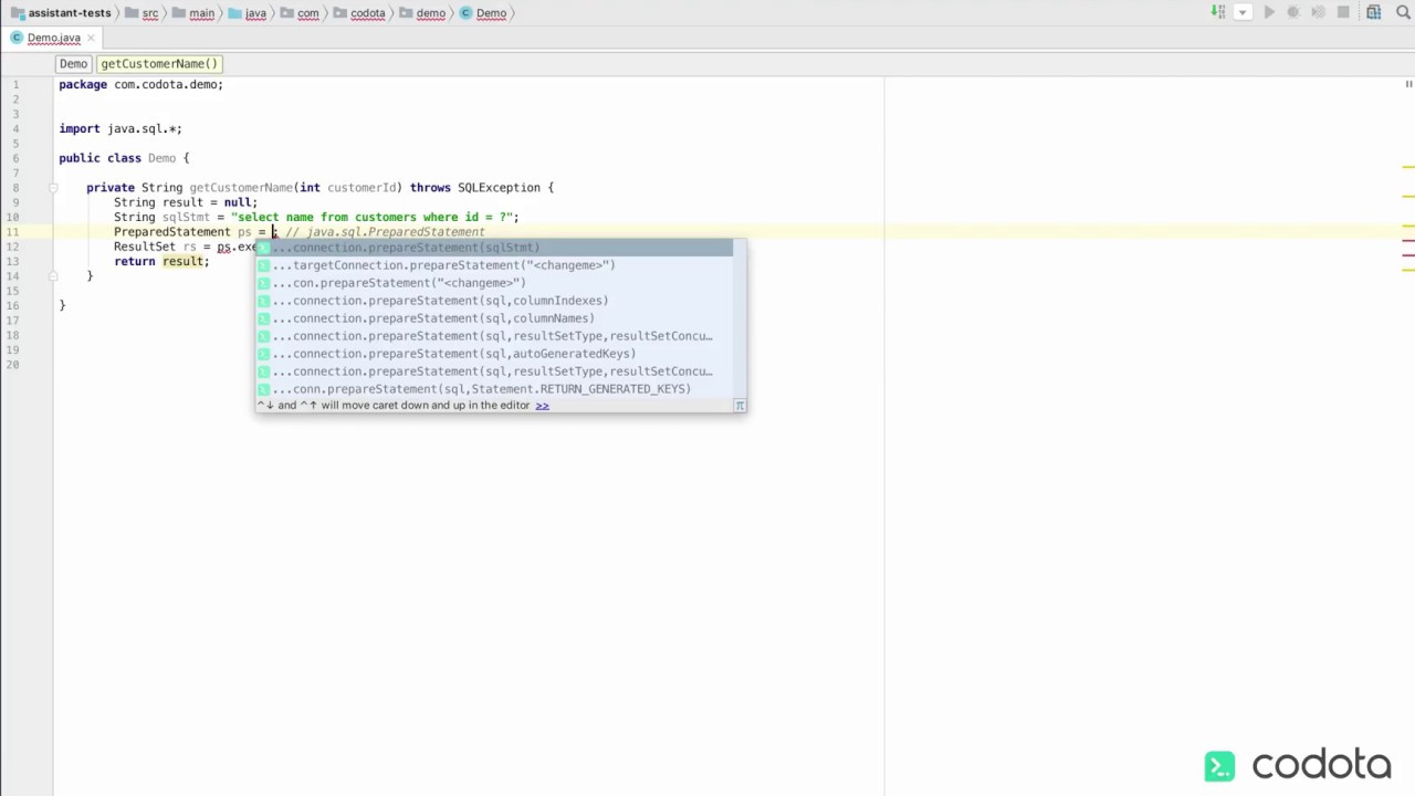 Codota demo - coding backwards