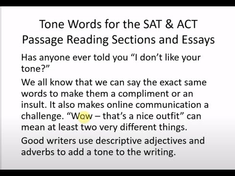 Tone Words for the SAT and ACT Reading and Essay