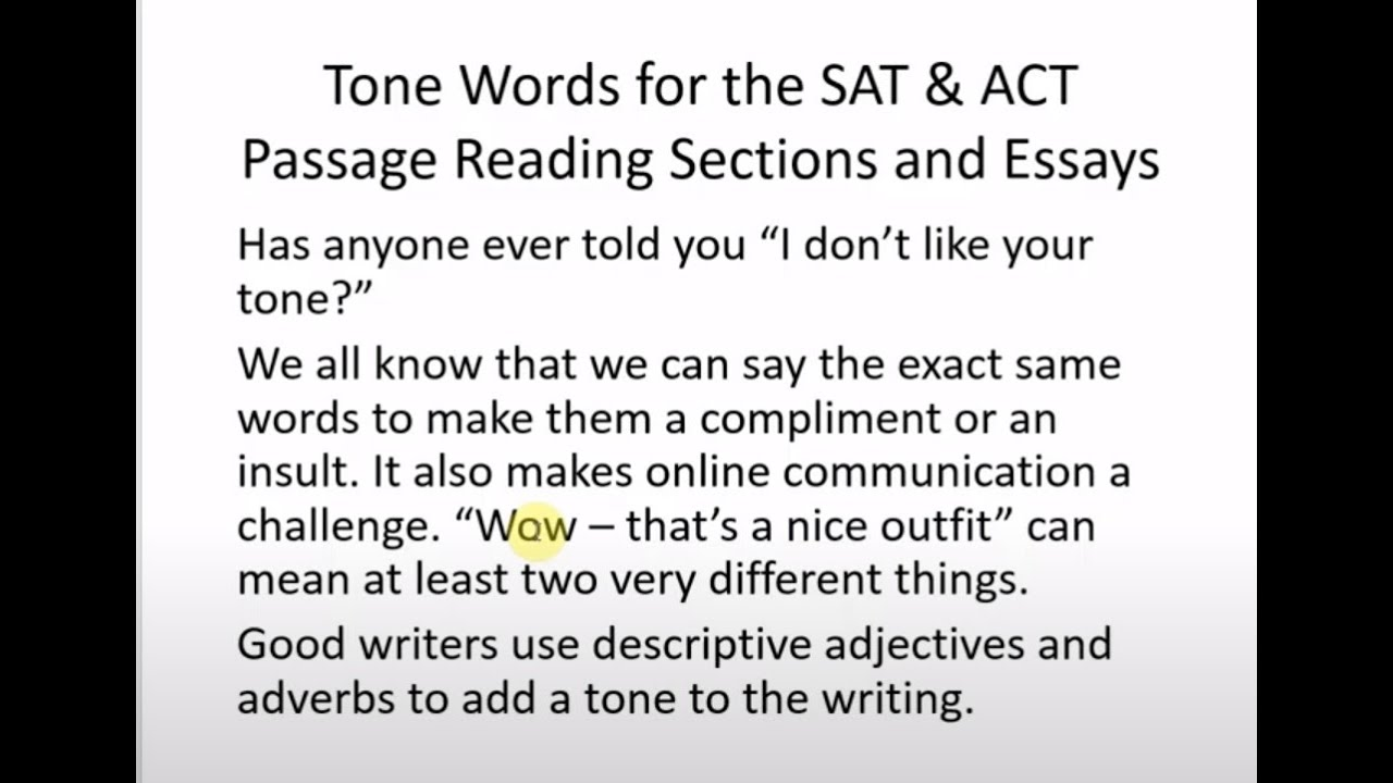tone words for the sat and act reading and essay  tone words for the sat and act reading and essay
