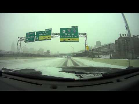 Downtown Cincinnati Ohio Driving in a Bad Snow Strom Vblog