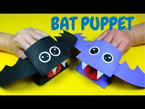 How to Make a Paper Bat Hand Puppet | Halloween Crafts for Kids