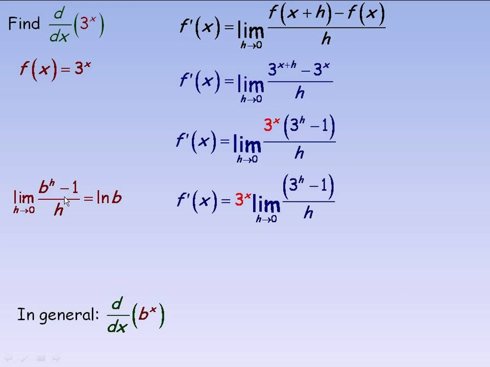 Derivatives of Exponential Functions Part 1 - YouTube