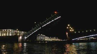 . Санкт-Петербург. Разведение Троицкого моста. Экскурсия на теплоходе