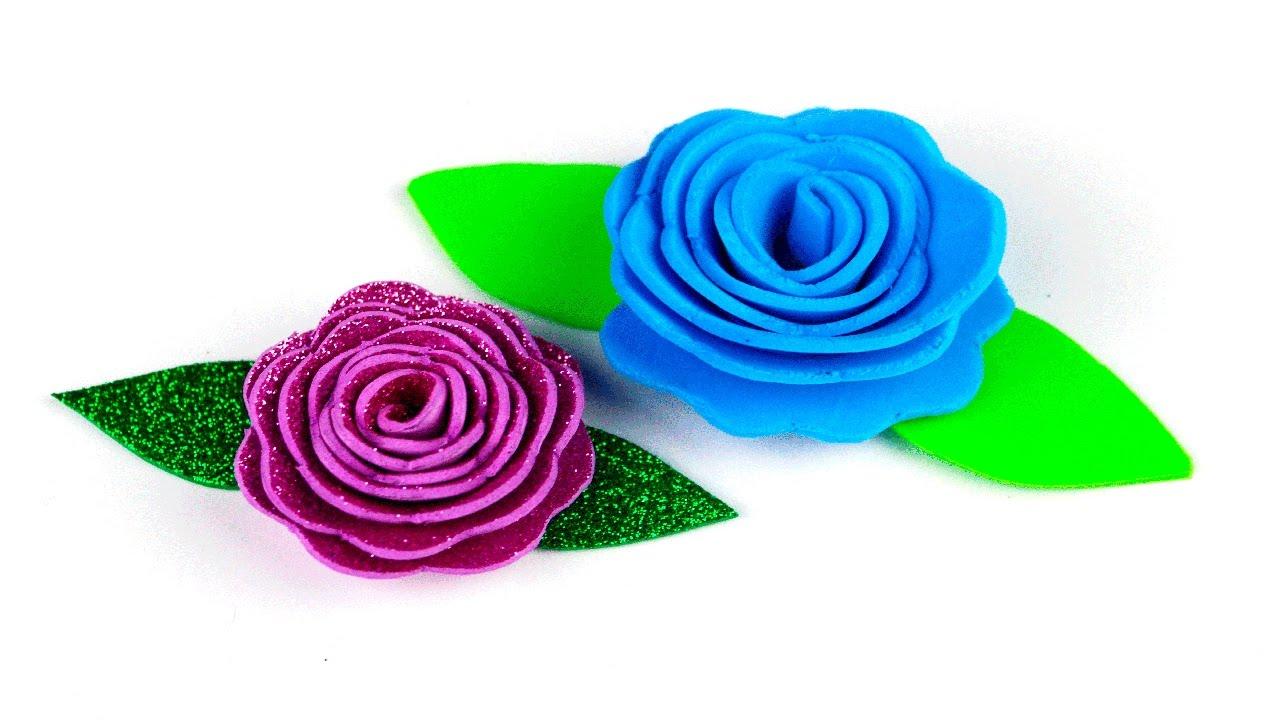 Como hacer rosas en espiral de foamy o goma eva diy manualidades youtube - Flores sencillas de goma eva ...