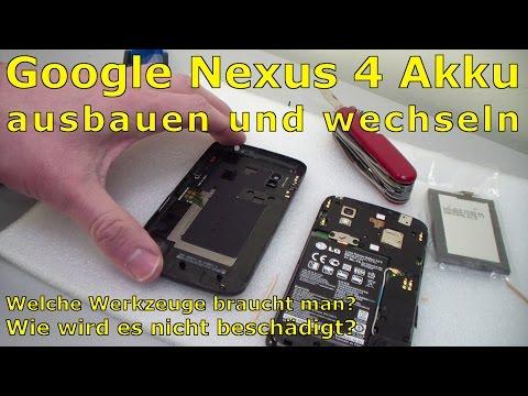 Google Nexus 4 aufschrauben und Akku wechseln - [English subtitles]