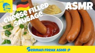 ASMR eating: vienna cheese sausage (no talking)!🇩🇪🇦🇹 (ソーセージ)