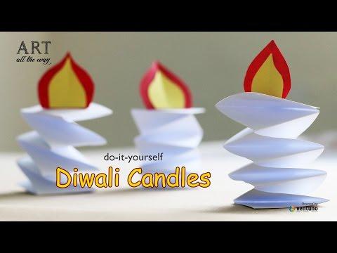 How to make diy paper candle diwali diya for Diya decoration youtube