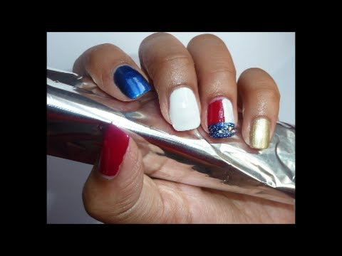 American Flag Inspired Nail Art , Without Using Any Tools!