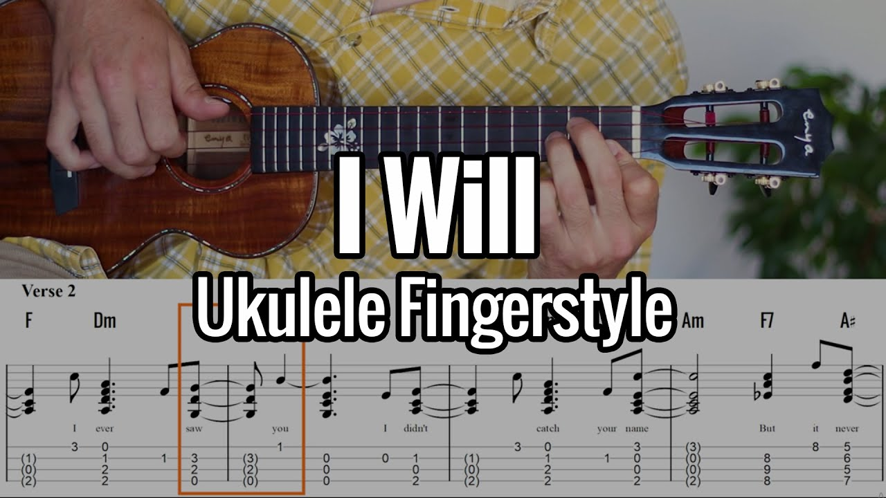 The Beatles - I Will (Ukulele Fingerstyle) - Tabs On Screen