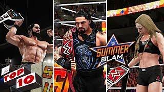 WWE Summerslam 2018 Top 10 Moments ft. Reigns vs Lesnar, Rollins vs Dolph, Ronda vs Bliss - WWE 2K18
