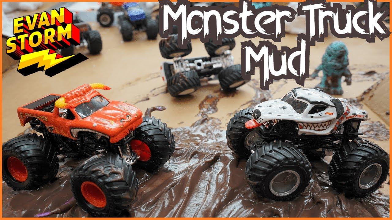 Monster Truck Monday: Monster Trucks In Mud DIY Box Fort Racetrack