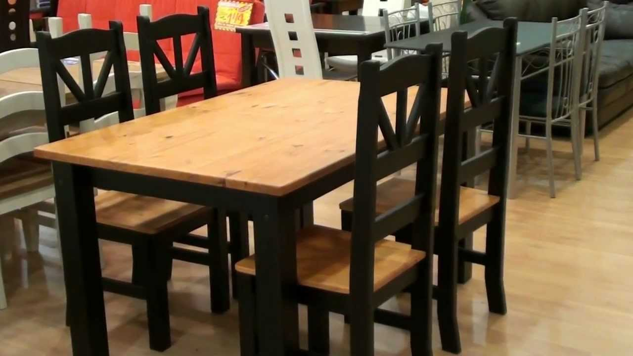 Mesa 4 sillas madera maciza r stico negro 3856 3857 for Sillas y sillones para jardin