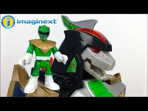 UNBOXING IMAGINEXT DRAGONZORD R/C GREEN POWER RANGER WITH REMOTE CONTROL AND  PLAY WITH DINOSAURS