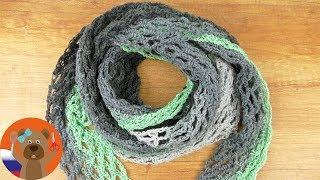 Вязание шали XXL крючком | Вязание быстро и просто | Шаль сетка своими руками