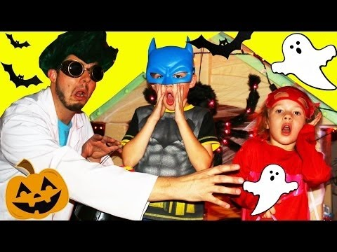 halloween-haunted-house-backyard-pj-masks-irl-scavenger-hunt-for-candy-on-little-tikes-play-houses
