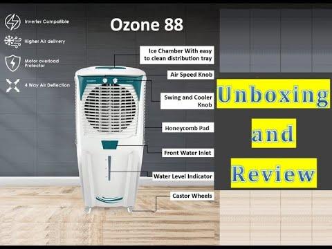 Crompton OZONE 88 Liters - honeycomb pad desert air cooler unboxing