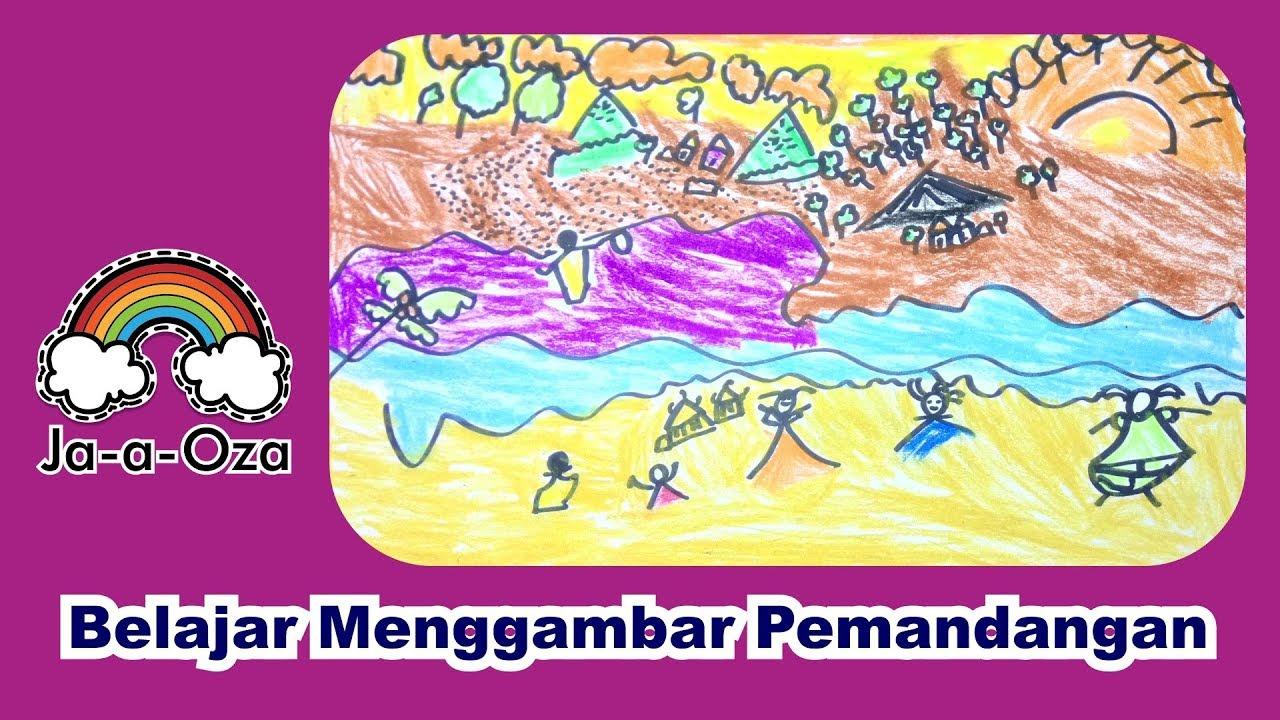 Belajar Menggambar Dan Mewarnai Pemandangan Laut Di Sore Hari Youtube