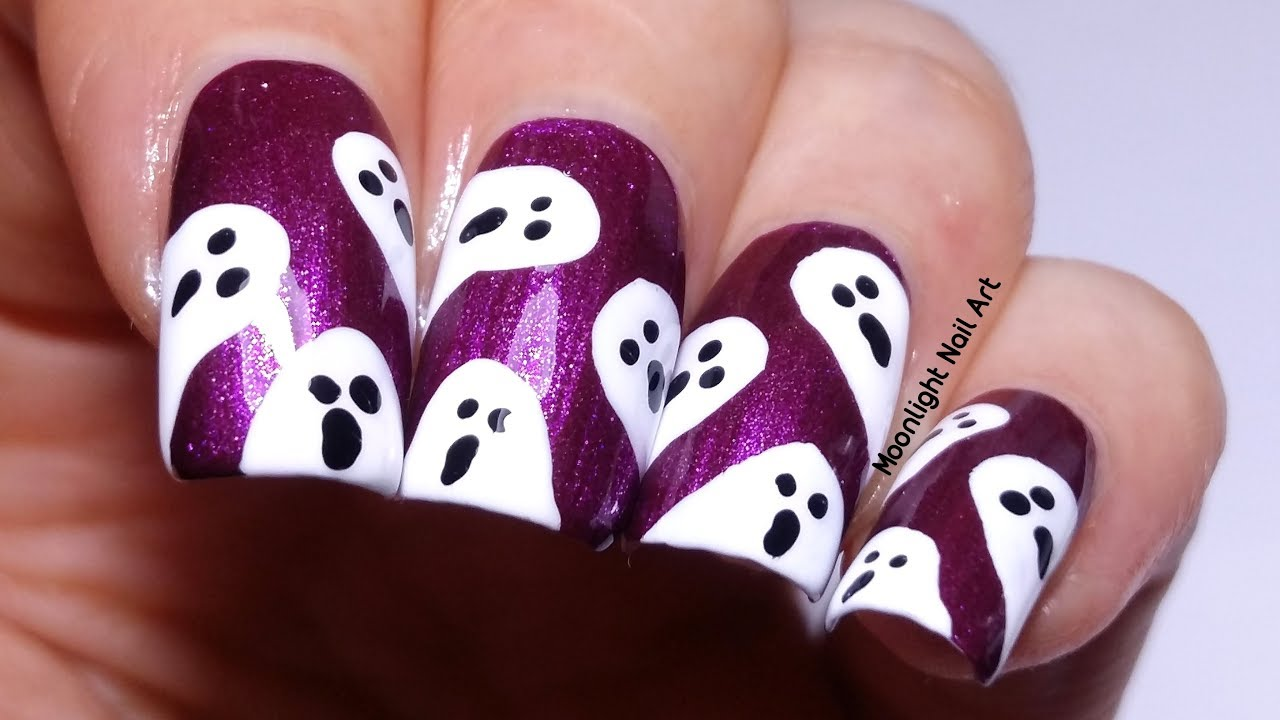 Easy Ghost Nail Design For Halloween Nail Art Using Toothpick