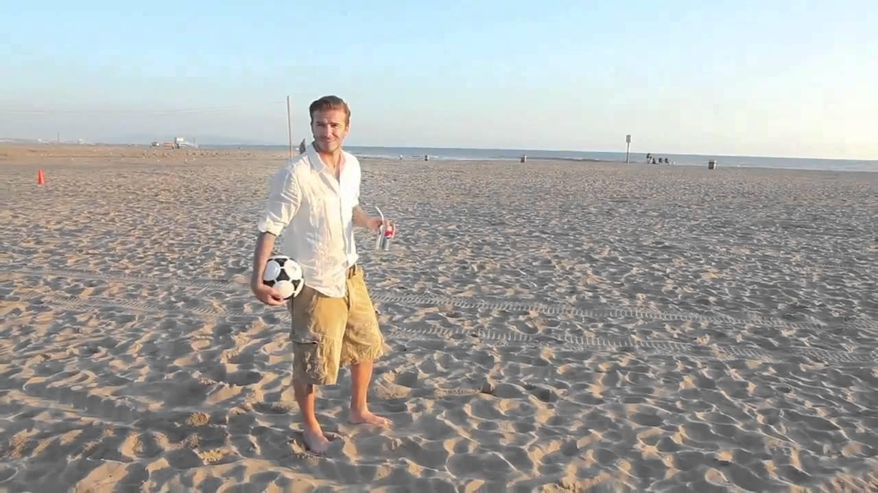 David Beckham Just Unbelievable Soccer Shots Skills On Beach You