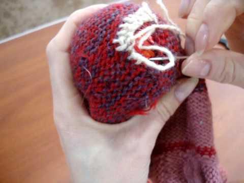 как починить пятку на вязаном носке