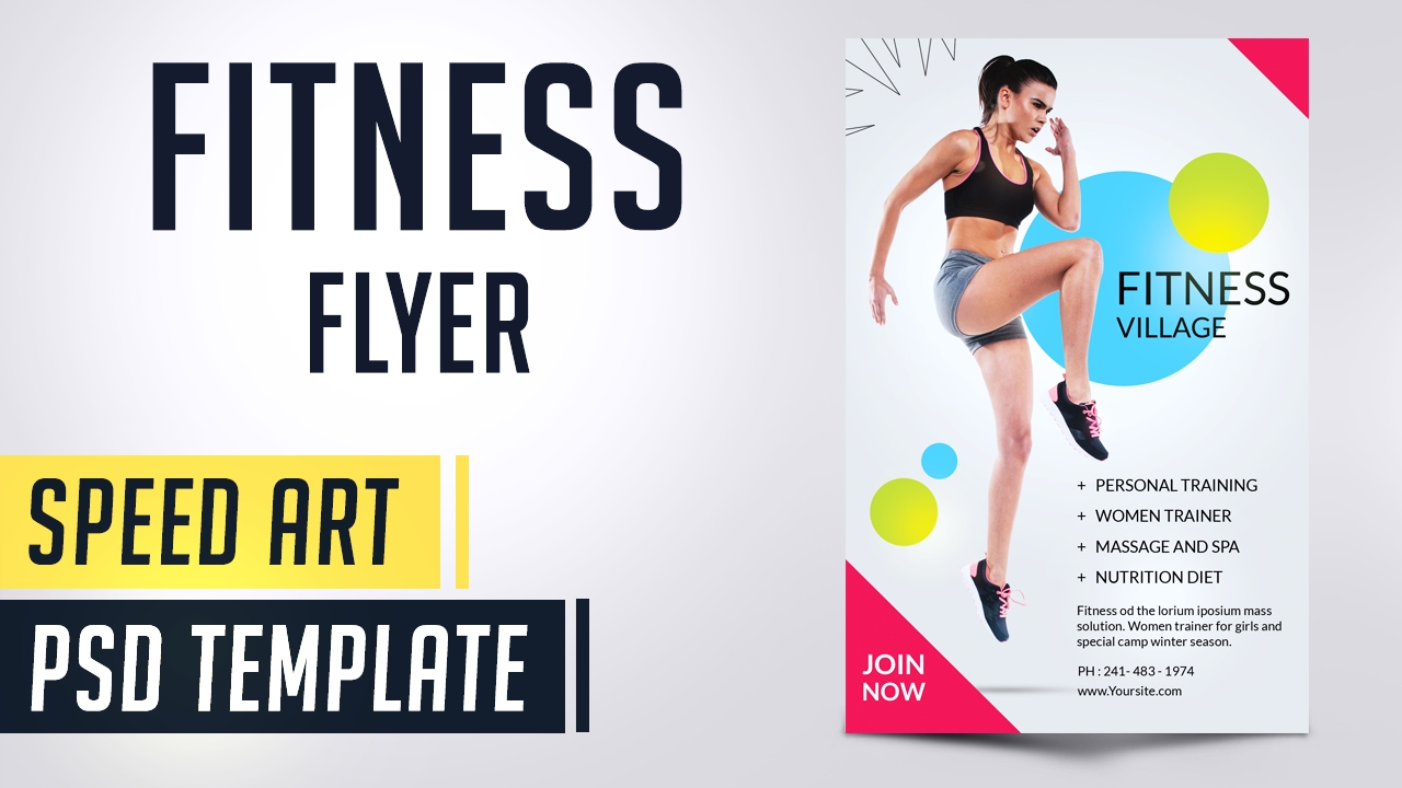fitness flyer gym photoshop speed art flyer youtube