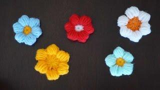 Маленький пышный цветочек крючком / Small crochet flower