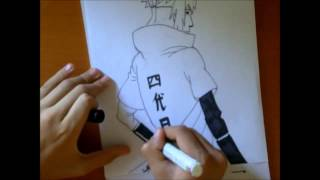 How to draw Minato Namikaze -Yondaime Hokage- from Naruto Shippuden + ink