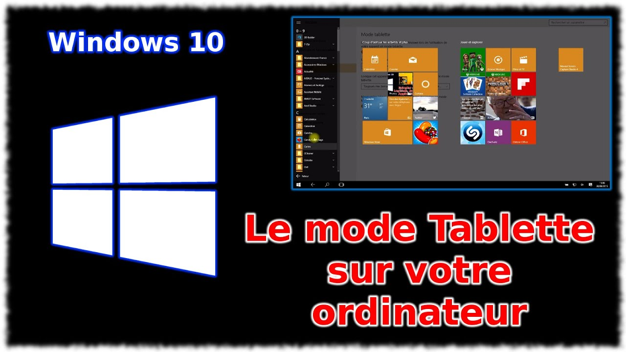 tuto windows 10 le mode tablette sur ordinateur youtube. Black Bedroom Furniture Sets. Home Design Ideas