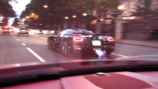 Koenigsegg Agera R Racing through Streets of London! INSANE FLAMES!!