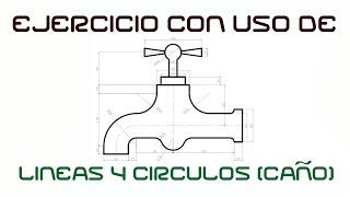 """AutoCad (Tutorial) Parte 3 """"EJERCICIO CON USO DE LÍNEAS Y CÍRCULOS"""" (LLAVE)"""