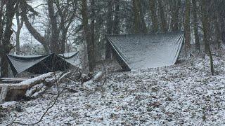 Snow camping in my hammock
