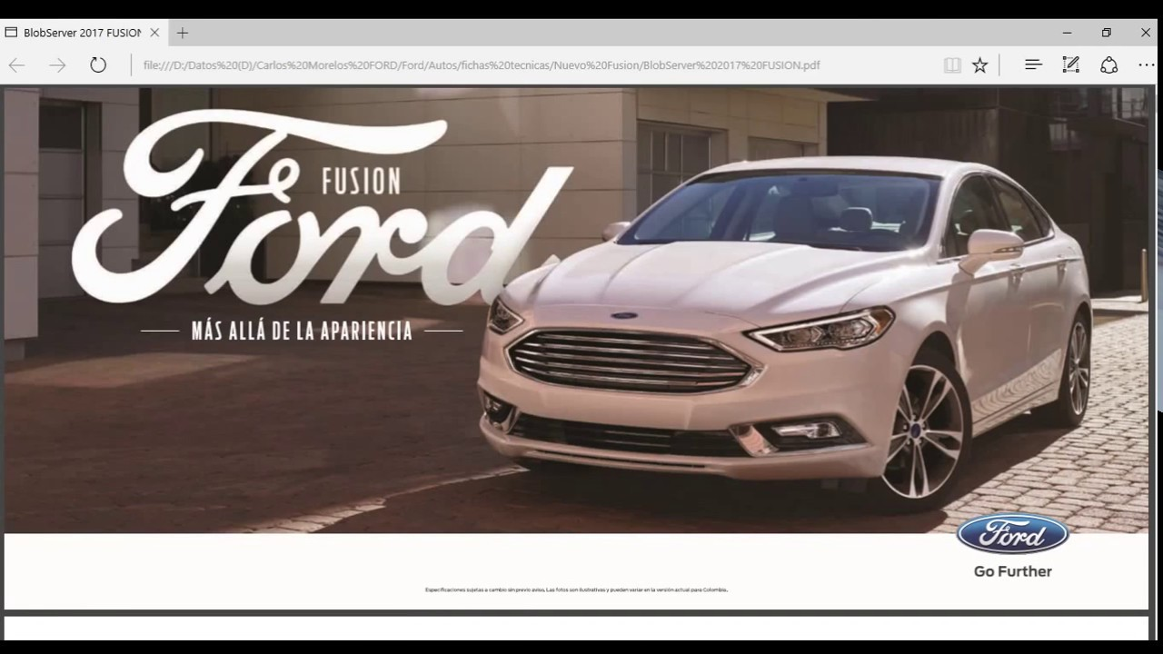 Nuevo ford fusion at titanium s 2017 ficha t cnica colombia