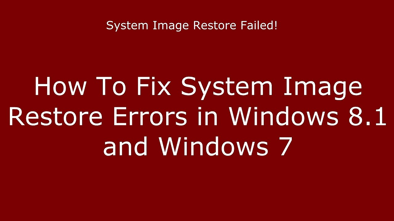 System image recovery failure – Incorrect parameter