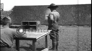 Students fire pistols at target boards at US Army Air Corps Third Aviation Instru...HD Stock Footage