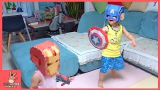 아이언맨 vs 캡틴아메리카 vs 토르 웃긴(?) 대결 승자는? 마블 시빌워 전쟁 ♡ 슈퍼 히어로 어벤져스 Marvel Civil War | 말이야와아이들 MariAndKids