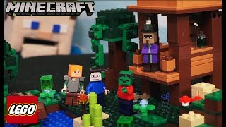 Minecraft LEGO The WITCH HUT Set 2017 Building Toy 21133 ALEX, SLIME CUBE Unboxing Puppet Steve