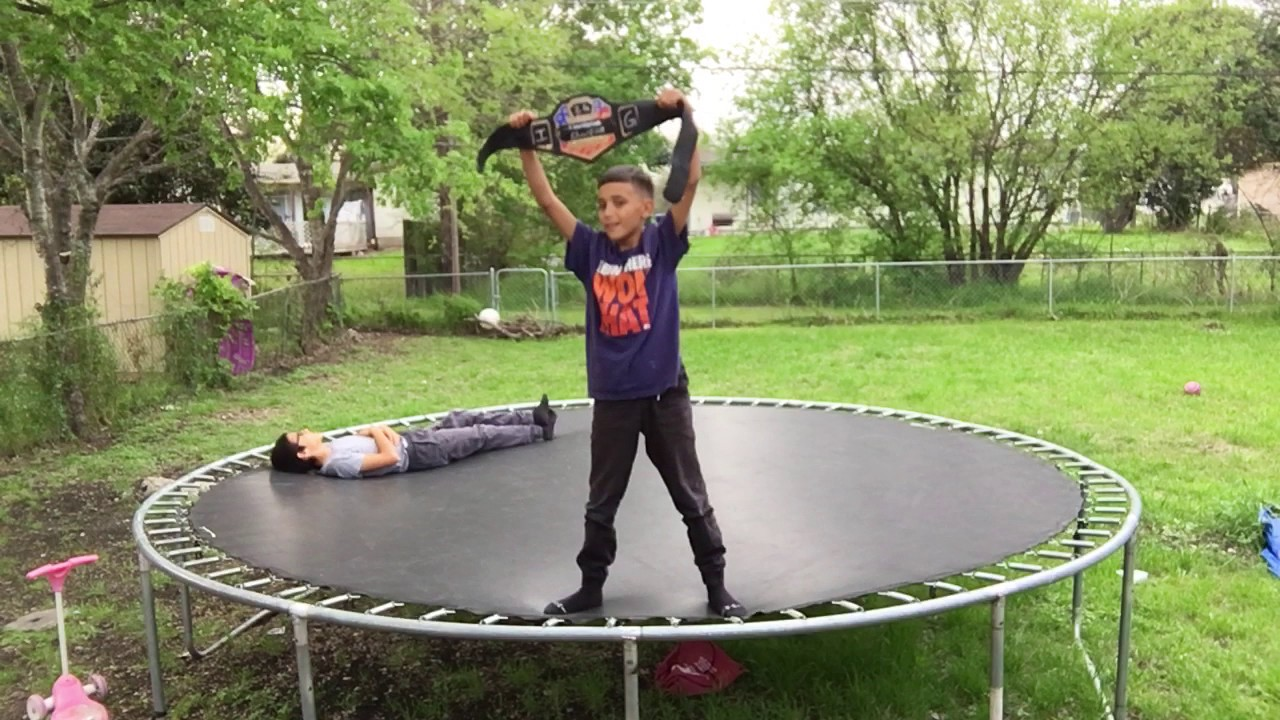 backyard wrestling on a trampoline pt 3 i lost the belt youtube