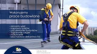 Usługi alpinistyczne mycie okien montaż reklam Toruń Cumulus Roboty budowlane i wysokościowe